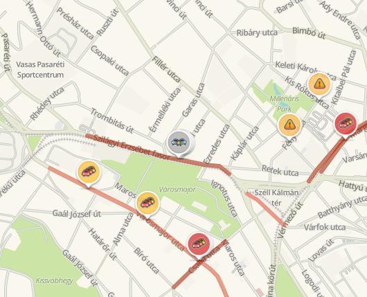 A baleset a Waze alkalmazásban